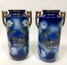 Pair Flow Blue Egyptian Scene Vases Handled Unique Scenic