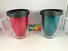 Tervis Tumbler Coffee Tea Cup Mug Emerald Ruby Clear Colorful Set of 2