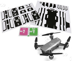 Waterproof Carbon Fiber Skin Wrap Black Stickers Decal For DJI SPARK Accessories