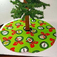 "Handmade Mini 19"" Christmas tree skirt How the Grinch stole Christmas green"