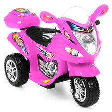 Kids Ride On Motorcycle 6V Battery Powered Electric 3 Wheel Power Bicycle Pink