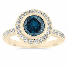 Certified Enhanced Blue Diamond Engagement Ring 14K Yellow Gold Halo 1.30 Carat