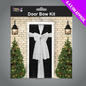 White Christmas Door Bow Kit - 9 Metres to Make Bow Decoration for Front Door
