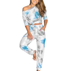 Women Tie Dye Tracksuit Lounge Wear Top Shorts/Pants Casual Outfit Sleepwear