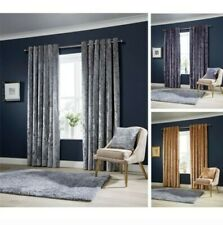 Olivia Rocco Crushed Velvet Curtains, Fully Lined Anneau Top Eyelet Curtain Pair