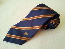 MK0030 walbusch Krawatte 100% Seide dunkelblau,braun,gold gestreift 147cm Gut