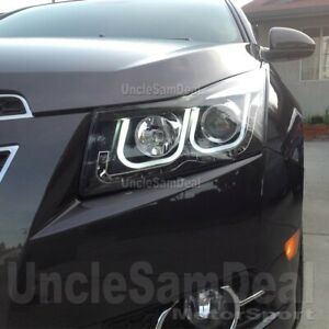 CHEVY CRUZE DUAL WHITE LED STRIPE BAR PROJECTOR AMBER SIGNAL BLACK HEADLIGHTS