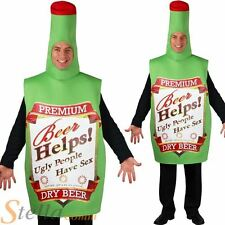 Adult Novelty Beer Bottle Drink Fancy Dress Costume Stag Do Unisex Funny Outfit