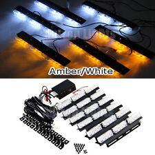54 LED 6In1 Amber&White Vehicle Strobe Emergency Warning Deck Dash Grille Light