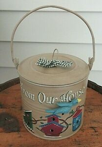 VTG Metal Tin Lunch Pail  Coal Miners Round Hand painted  Bird Houses Farmhouse