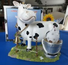 "Comical COW WITH BELL, CHICKEN IN A BUCKET, SUNFLOWERS, FENCE w/""dirt"" NEW!"