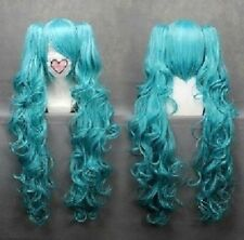 Long VOCALOID-hatsune miku Blue Anime Cosplay wig+2Clip On Ponytail