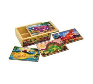 Doug Dinosaurs 4-in-1 Wooden Jigsaw Puzzles in a Storage Box