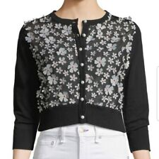 NWT Karl Lagerfeld Black Cardigan with White Flowers Pearl Buttons Sz XS