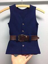 Vintage 1970's DRALON Girls 2 piece Blue Pants & Belted Vest/Dress Bellbottoms