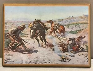 C.M. Russell Western Cowboy Art Print Mounted On Wood Plaque 1907 Reproduction