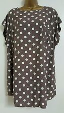 NEW Plus Size 16-28 Vintage Polka Dot Spotted Brown White Tunic Top Blouse