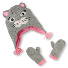 Toddler Girls Shimmer Kitty Hat And Mittens Set - Gray (6-12 Months)