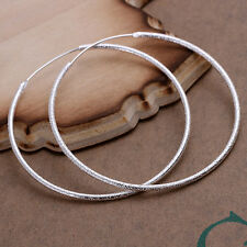 Solid Silver Jewelry Thin Sandy Large Circle Women Hoop Earrings EP044