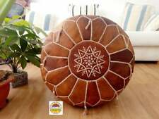 Leather oiled tan Poufs, White Stitching Moroccan handmade Embroidery Footstool