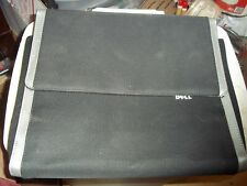 EUC DELL LAPTOP CARRYING CASE w/ MAGNETIC FLIP OVER COVER BLK/SLVR CANVAS 13x10