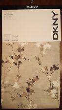 New! DKNY Window Curtain Panels 50x84 PAIR Gray Tan White - WALLFLOWER Floral