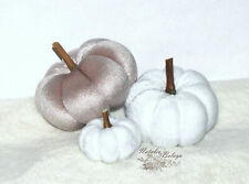 Thanksgiving Bowl Filler Set White Beige Velvet Pumpkins Fall Farmhous Decor