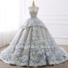 Elegant Wedding Dresses Flower Applique Bridal Ball Gowns Custom Lace Up Crystal