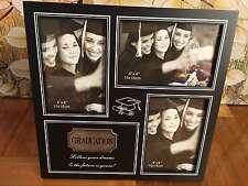 Graduation Black Timber 3 Photo Frame Sliver Plaque Inspirational Memory Gift