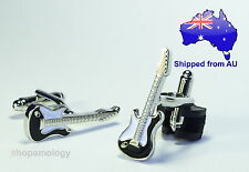 Silver Electric Guitar Novelty Cufflinks