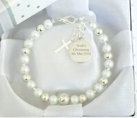 BABY BOY GIRL Personalised & Engraved Bracelet Christening Day Gift Birthday