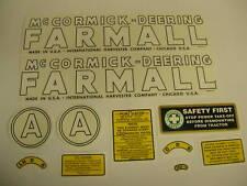 Mc Cormick Deering Farmall Model A Decal Set - NEW FREE SHIPPING