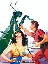 "Giant Praying Mantis Attacks Beautiful Woman 8.5x11"" Photo Print Future Horror"