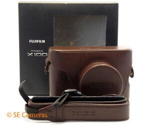 FUJI FUJILFILM FINEPIX X100 BROWN LEATHER CASE & STRAP LC-X100 *EXCELLENT*