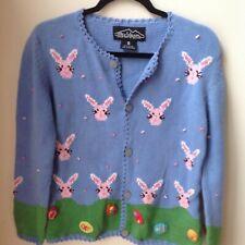 Novelty Easter Sweater Rey Wear Bunny Eggs Light Blue Pink Size S Vintage Comfy