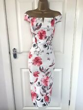 White / Pink Flower Detail Bodycon Wiggle Pencil Midi Dress Size 14 . Brand New