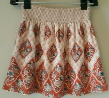 Ecote Anthropologie mini skirt medium floral bird multicolor pink stretchy