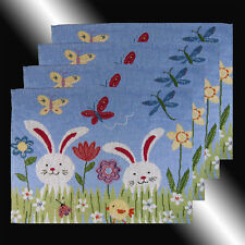 SET OF 4 VINTAGE BLUE RABBIT FLOWERS TAPESTRY DECORATIVE TABLE LINEN PLACEMATS
