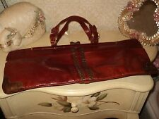FRENCH VINTAGE 50s BROWN LEATHER & GENUINE SNAKESKIN SATCHEL HANDBAG LONG 20""
