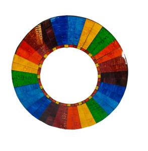 Large Sunlover Unique 50cm Mosaic Rainbow Stripe Round Mirror