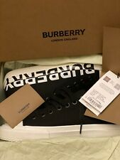 NEW Burberry Logo Print Two-tone Cotton Gabardine Sneakers SIZE: 9
