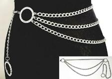 3 Layer SILVER Chain Link Belt with Round Rhinestone Circles ( 1384 )