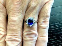 Royal Blue Natural 1.42 carat Oval Sapphire and Diamond Ring GIA Princess Diana