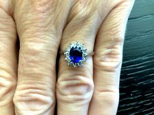 Royal Blue Natural 1.42 carat Oval Sapphire and Diamond Ring GIA Princess Diana