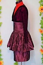 fab vintage 80s magenta velvet and taffeta  dress christmas