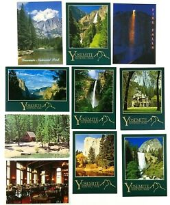 Yosemite National Park Lot of 10 Color Postcards Ahwahnee Hotel Fire Fall + More