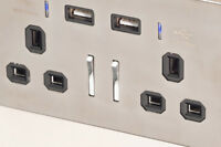 Wall Plug UK Twin Socket with 13A USB Smartphone High Speed Chrome With Black