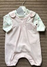 BNWT 2 PIECE BABY GIRLS NEXT PINK WHITE  VEST DUNGAREES ALL IN ONE FIRST SIZE
