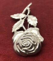 Vintage Sterling Silver Brooch Pin 925 Rose Flower