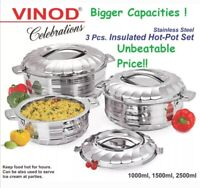 Vinod 3pc Set Stainless Steel Cold Hot Pot Food Insulated Casserole Double Wall